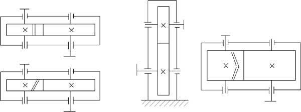 Расчет редукторов одноступенчатых и двухступенчатых Курсовое  2 Цилиндрический редуктор с вертикальным расположением осей Также включает косозубый и шевронный